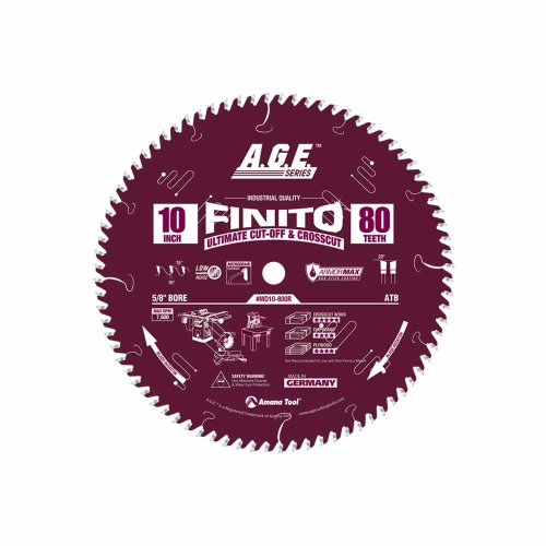 A.G.E. Series by Amana Tool MD10-800R Finito Ultimate Cut-Off Crosscut ArmorMax Non-Stick Coating 10-Inch x 80 Tooth ATB 5/8-Inch Bore Saw Blade
