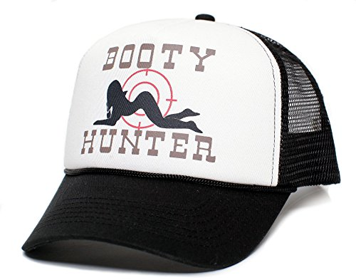 Hat Cap Booties - Booty Hunter Unisex-Adult Curved Bill One-Size Truckers Hat ((Black/White))