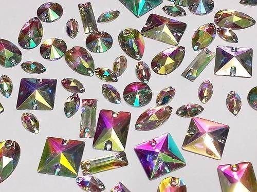 50pcs Ab Clear Mixed Shapes Resin Sew on Diamante Rhinestone Crystal Gems ()
