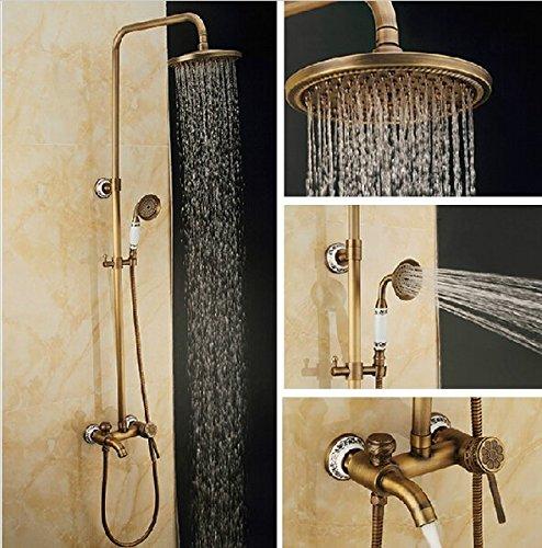 GOWE Top-grade Three Functions Bathroom Tub Shower Set Faucet Antique Brass Single Handle 8