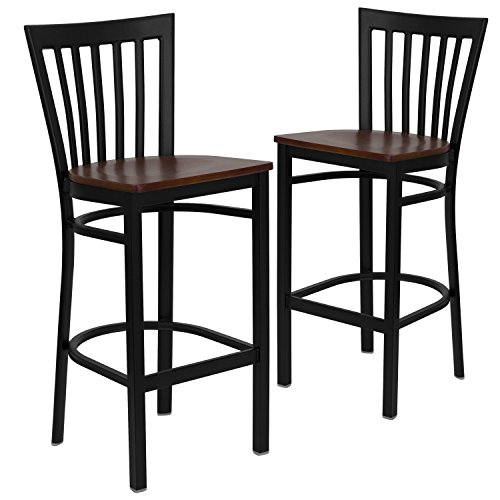 (Flash Furniture 2 Pk. HERCULES Series Black School House Back Metal Restaurant Barstool - Cherry Wood Seat)