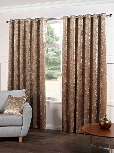 (Tony's Textiles Kensington Luxury Crushed Velvet Lined Curtains Panels with Grommet Eyelet Top Champagne Natural 46