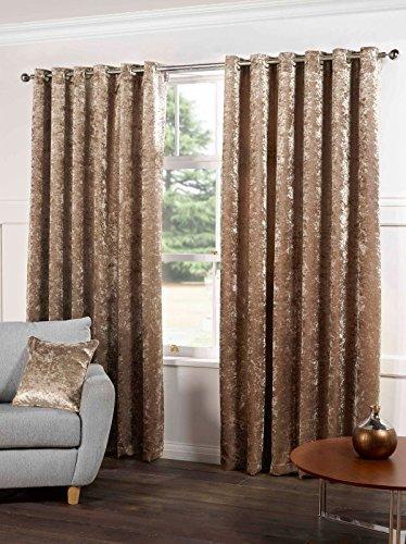 Velvet Eyelet - Tony's Textiles Kensington Luxury Crushed Velvet Lined Curtains Panels with Grommet Eyelet Top Champagne Natural 46