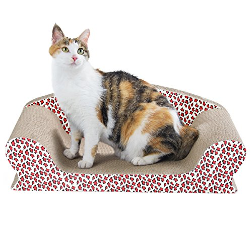 Cat Sofa Bed for Scratching, Kitty Cardboard Scratcher Couch, Kitten Scratch Lounge for Rest and Furniture Protect with Catnip, Leopard Print