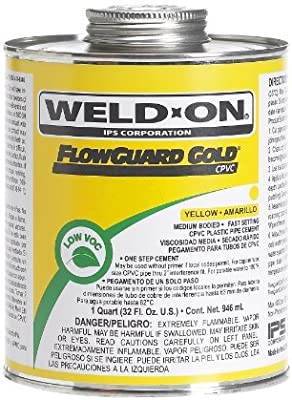 Weld-On 11026 Yellow Medium-Bodied CPVC FlowGuard Gold Professional Plumbing-Grade Cement, Fast-Setting, Low-VOC, 1 quart Can with Applicator Cap by Weldon