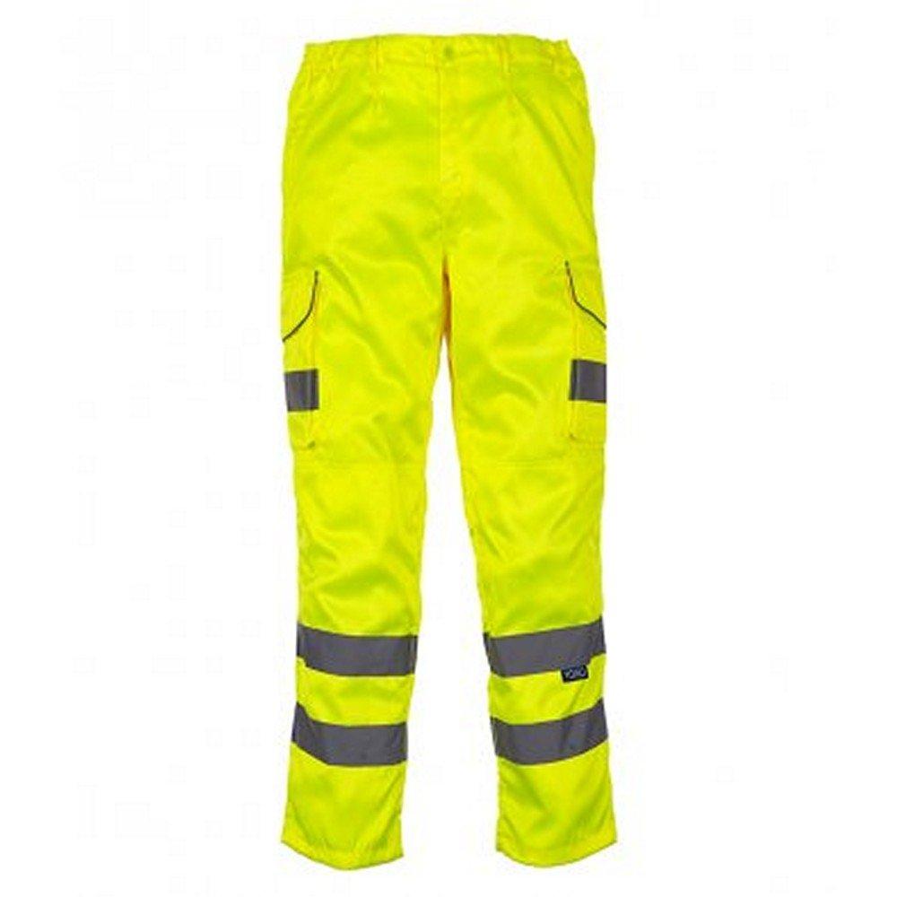 Yoko Mens Hi-Vis Cargo Trousers with Knee Pad Pockets (44in Reg) (Yellow)