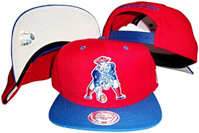 New England Patriots Red/Blue Two Tone Snapback Adjustable Plastic Snap Back Hat / Cap