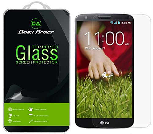 [2-Pack] LG G2 Screen Protector, Dmax Armor [Tempered Glass] 0.3mm 9H Hardness, Anti-Scratch, Anti-Fingerprint, Bubble Free, Ultra-clear (Tempered Glass Lg G2 compare prices)