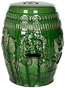 Safavieh Castle Garden's Collection Green Glazed Ceramic Chinese Dragon Garden Stool