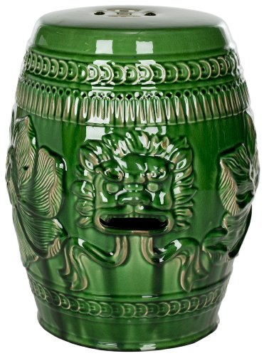 Green Ceramic Stool (Safavieh Castle Gardens Collection Green Glazed Ceramic Chinese Dragon Garden Stool)