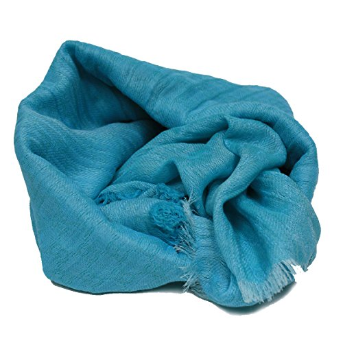 Gucci Turquoise Blue Silk / Wool / Cotton Blend Lightweight Fringed Scarf 283031 by Gucci