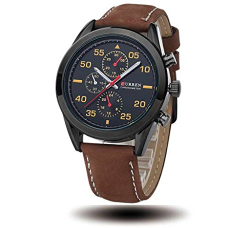 Tidoo Watches Mens Business Wrist Watch Japaneses Quartz Movement Staintless Steel Black Case Black Analog Dial Coffee Leather Band