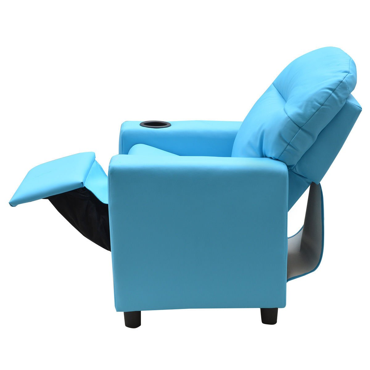 Costzon Contemporary Kids Recliner, PU Leather Lounge Furniture for Boys & Girls W/Cup Holder, Children Sofa Chair (Blue) by Costzon