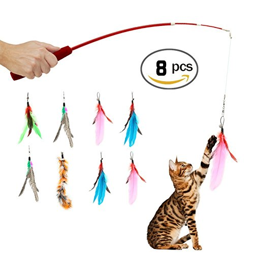 OEXEO Retractable Wand, Multi Feather Teaser and Exerciser For Your Cat and Kitten - Cat Toys Interactive Cat Wand (8PCS)