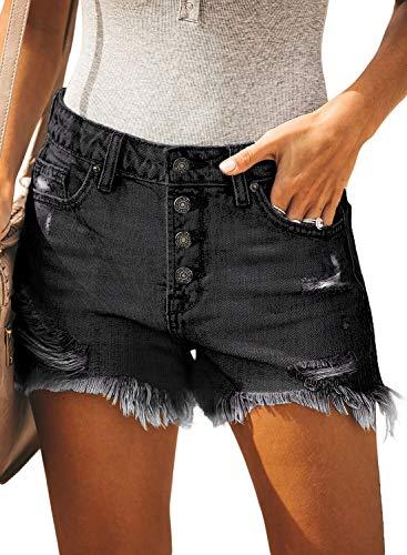 Sidefeel Women Mid Rise Shorts Distressed Buttoned Raw Hem Denim Jeans Shorts XX-Large - Jean Denim Shorts Jeans