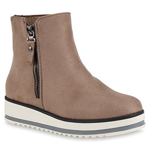 Stiefelparadies Damen Chelsea Boots Leicht Gefütterte Stiefeletten Wedges Plateau Vorne Keilabsatz Schuhe Knöchelhohe Stiefel Profil Flandell Khaki Zipper