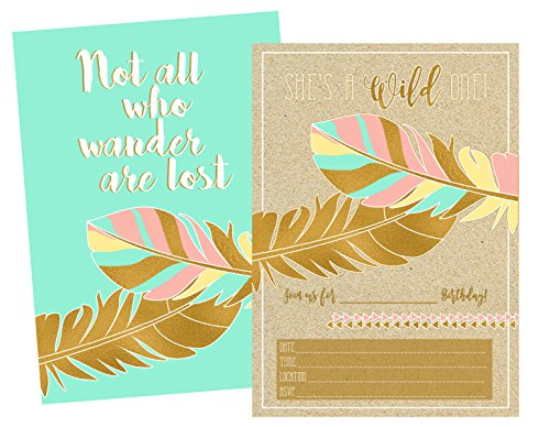 Gold Boho Themed Not All Who Wander Are Lost Birthday Party Invitation for Girl (set of 12) (Birthday One Invitation)