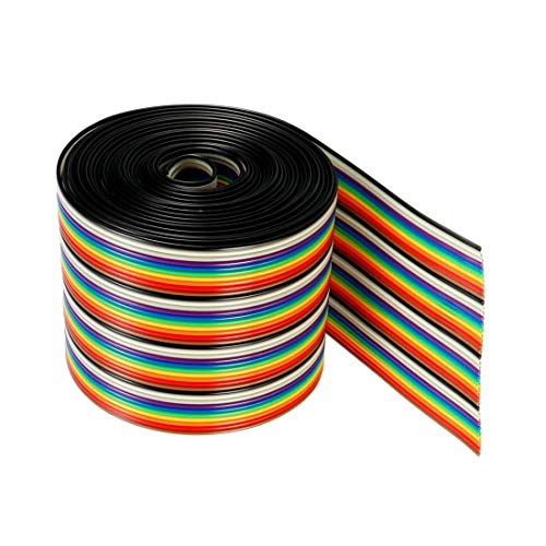 Aodesy Multicolor Jumper Wire 1.27mm Pitch Ribbon Cable 3M Length 1.27mm Pitch -Pack of 1