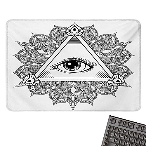 EyeE-Sports Gaming Mouse PadVintage All Seeing Eye Tattoo Symbol with Boho Mandala Providence Spirit OccultismNonslip Rubber Base 15.7
