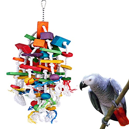 KINTOR Bird Chewing Toy Large Medium Parrot Cage Bite Toys African Grey Macaws Cockatoos Eclectus Amazon (Waterfall-Big)