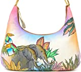 ZIMBELMANN MICHAELA Genuine Nappa Leather Hand-painted Hobo Shoulder Bag Purse