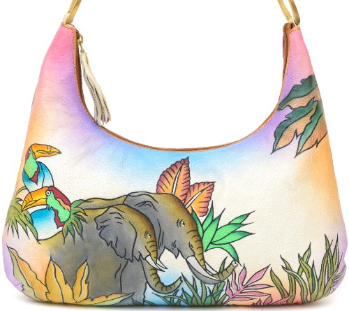 ZIMBELMANN MICHAELA Genuine Nappa Leather Hand-painted Hobo Shoulder Bag Purse by Zimbelmann