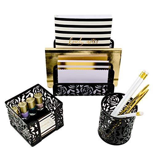 Blu Monaco Black Desk Organizer for Women - 3 Piece Desk Accessories Set - Letter-Mail Organizer, Sticky Note Holder, Pen Cup - Black Rose ()