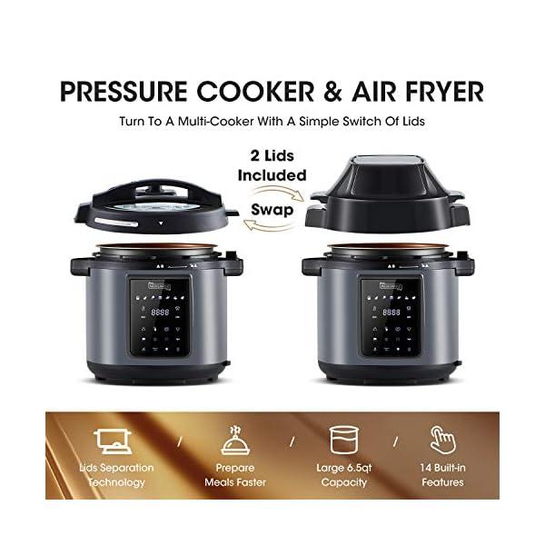 MICHELANGELO 6 QT Pressure Cooker Air Fryer Combo, All-in-1 Pressure Cooker with Air Fryer - Two Detachable Lids for… 2