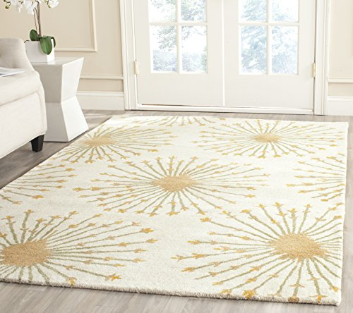(Safavieh Bella Collection BEL123A Handmade Beige and Gold Premium Wool Square Area Rug (5' Square))