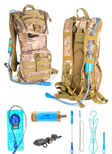 Lion Gear Insulated Hydration Survival Backpack with 2L Water Bladder with Filter - Heavy Duty, Waterproof, Weather Resistant, Extra Storage - Military, Outdoor, Backcountry Camo Assault Rucksack