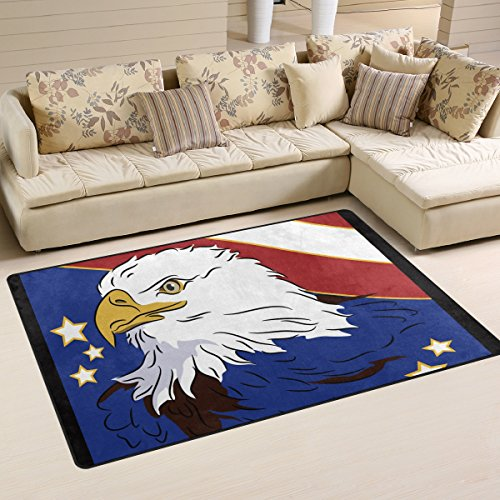 Naanle American Flag and Eagle Area Rug 3'x5', Star and Stripe Polyester Area Rug Mat for Living Dining Dorm Room Bedroom Home Decorative - Polyester Stripes Rug