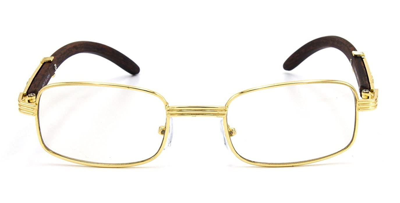 0f347ffad6bd Amazon.com: CY SUN Mens CLASSY Style Clear Lens EYE GLASSES Wooden Print  Square Gold Frame (Brown, Clear): Clothing