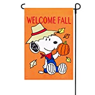 "Fall Peanuts Welcome Fall Embroidered / Applique Garden Flag 12"" x 18"" 23439"