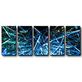 BABE MAPS Wall Decor Artwork Ready Hang 5PCS Oil Paintings Urban Technology Paintings on Canvas Home Decorations (12x24 inchx5)