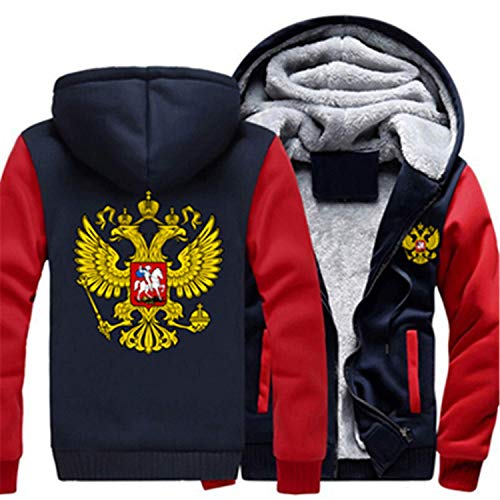 Fashion-Hoodies Russian Logo Coat Zipper Hoodie Winter Fleece Unisex Thicken Jacket Sweatshirts,XXXXX-Large,C,