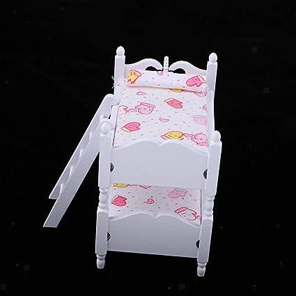 Amazon.com: NATFUR 1:12 Miniature Bunk Bed Model Kits ...