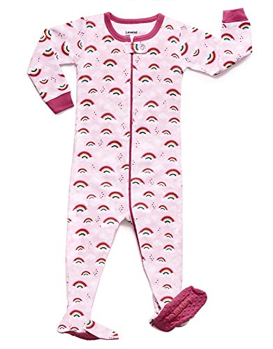Toddler Boys Cotton Pajamas - Leveret Rainbow Footed Pajama Sleeper 100% Cotton (3 Years)