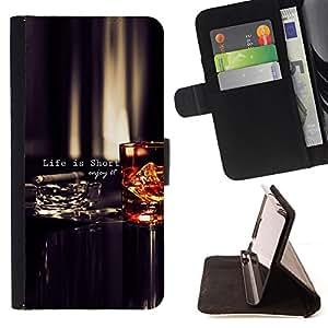 BullDog Case - FOR/LG OPTIMUS L90 / - / life is short quote enjoy motivational /- Monedero de cuero de la PU Llevar cubierta de la caja con el ID Credit Card Slots Flip funda de cuer