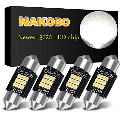 NAKOBO PHILIPS 3020 Chipset Canbus Error Free LED Bulbs for Interior Car Lights License Plate Dome Map Door Courtesy 1.25 31MM Festoon DE3175 6428 Xenon White