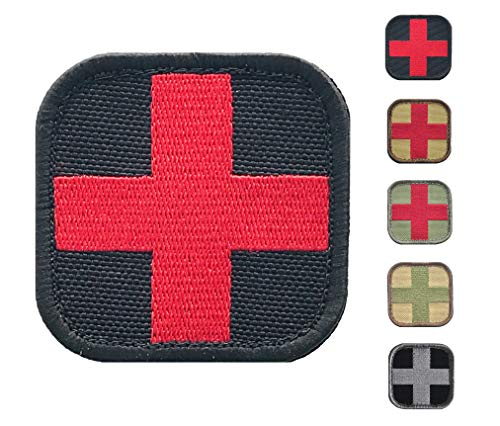 Medic Cross First Aid Morale Patch - Stitch/Embroidered - Perfect for IFAK Rip Away Pouch, EMT, EMS, Trauma, Medical, Paramedic First Response Rescue Kit - Tactical, Combat, Emergency (Black-RED) ()