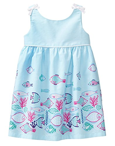 Gymboree Baby Girls Sleeveless Fish Border Dress, Sky Blue, 6-12 (Border Sleeveless)