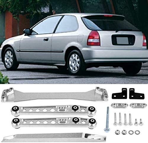 Rear Lower Control Arm Subframe Brace Tie Bar Kit Compatible with 96-00 Honda Civic Silver