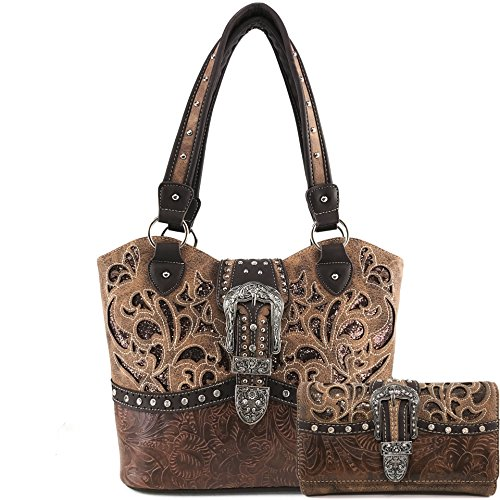 Justin West Gleaming Laser Cut Rhinestone Buckle Studded Concealed Carry Handbag Purse (Brown Purse Wallet Set)