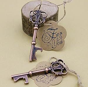 50pcs Wedding Favors Skeleton Key Bottle Opener with Escort Tag Card For You Stamp