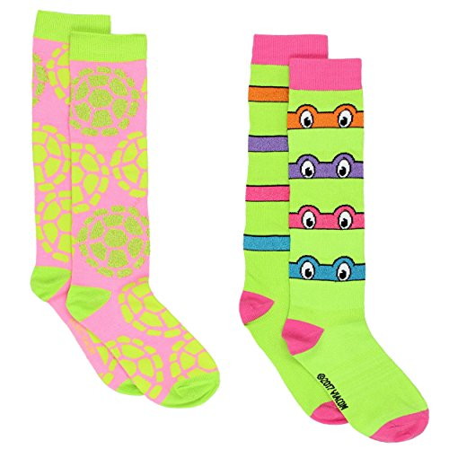 TMNT Teenage Mutant Ninja Turtles Womens 2 pack Socks (9-11 (Shoe: 4-10), Masks Green/Pink) (Female Ninja Turtles)
