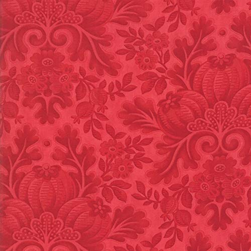 Moda Fabrics 3 Sisters Cinnaberry Tonal Cranberry Flower and Pomegranate Damask ()