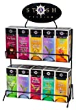 Stash Tea 10 Flavor Teas 30 Count Tea Bags in Foil with Display Rack Individual Tea Bag Variety Pack, Use in Teapots Mugs or Cups, Brew Hot Tea or Iced Tea