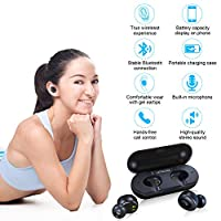 Wireless Earbuds, Letscom True Wireless Bluetooth 5.0 Earbuds, 3D Stereo Sound Earphones with 4 Hours Playtime, Wireless Bluetooth Headphones with Built-in Mic and Portable Charging Box by LETSCOM