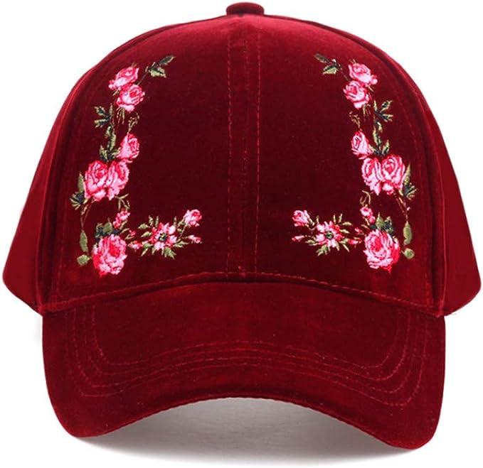 Knncch Color Sólido Bordado De Flores Gorra De Béisbol para Mujer ...