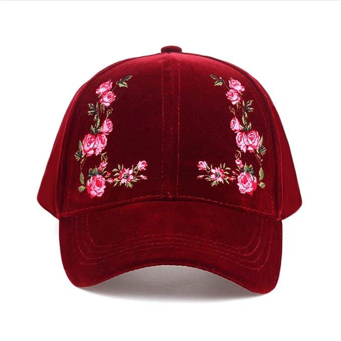 Knncch Color Sólido Bordado De Flores Gorra De Béisbol para Mujer Sombrero De Algodón Gorra para